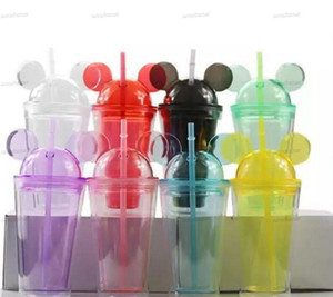 8colors 15oz Acrylic tumbler with dome lid plus straw double Wall Clear Plastic Tumblers with Mouse Ear Reusable cute drink cup