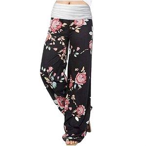 Women Pants Stitching Wide-leg Pants Yoga Sweatpants 5 Style Fashion Casual Home Wear Female Flower Point Print Elastic Waist