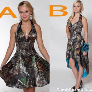 New Camo Short Bridesmaid Dresses Halter A Line Short Hi Lo Backless Plus Size Cheap Wedding Party Dress BO8268