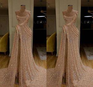 Золото Sexy Пром платье Милой Sequined High Side Split Формальная вечернее платье партия одежда Pageant платье ogstuff роба де бал vestidos