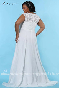 Plus Size Chiffon Wedding Dress 2020 Beach Wedding Elegant Mariage Bridal Dress Bohemian Wedding Gowns