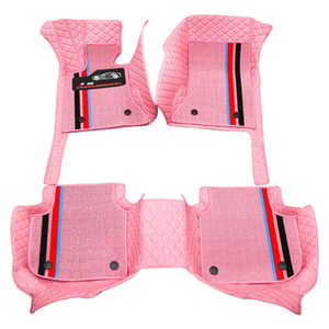 Custom Fit Car Floor Mats Specific Double Layer Leather ECO friendly Material For Vast of Car Model and Make 3 Pieces Full set Mat Pink