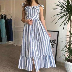 2020 Мода Классический свежий сладкий красоты платье Подтяжки Вертикальные полосы Split Кнопка Длинные юбки лето Новый Lady Fan платье