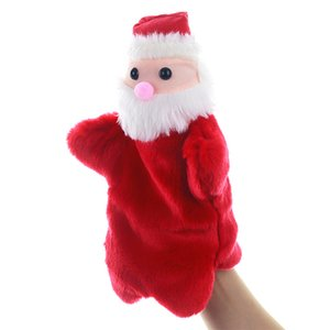 Navidad de mano muñeca de juguete de la marioneta de dibujos animados de Santa Claus Navidad felpa de la muñeca de la felpa de los juguetes del niño marioneta de peluche Juguetes DHA936