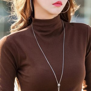 Spring and Autumn New Womens Cotton Long-Sleeved T-shirt Womens Shirt Slim Style in Korean Version Slim-Looking inside Western Style Turtlen