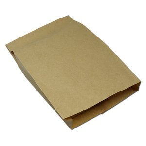 200pcs 14 * 4 * 20cm Brown Kraft papier sulfurisé Sac d'emballage alimentaire Pancake Fried Chicken Chips Hamburger Snack Barbecue Party