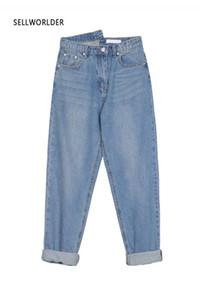 2020 Frauen-Weinlese Dünne Gerade hohe Taillen-beiläufige Jeans SELLWORLDER schicke Hosen