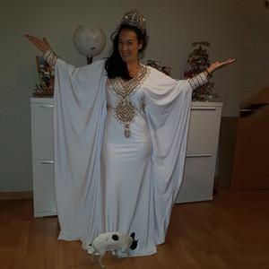 Soft Dubai Caftan Evening Dresses Gold Beaded Muslim Prom Gowns Long Sleeves Arabic Women Party Dress