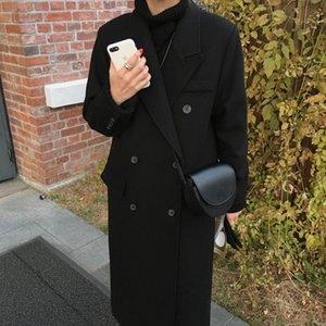 JFbZL 2020 autunno e l'inverno di lunghezza media stile coreano Cappotto alla moda in lana della Nuova Hepburn en donne over-the-knee ispessita Loose Women di