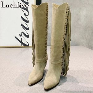 2020 Fringe Kid Suede Boots Women Spike High Heels Party Shoes Pointy Toe Knee High Boots Retro Black Shoes Woman