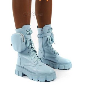 2020 New Women Pocket Boot Lace Up Women Buckle Strap Blue Chunky Sole Pouch Boots Woman Fashion Platform boot W152