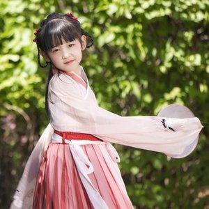 fJVVw Kinderkleidung Mädchen ist klein Pfirsich und weißen Kragen chinesischen Stil tägliche Verbesserung Nicht-Han-Kleidung Sommer Schwestern Eltern-Kind-d