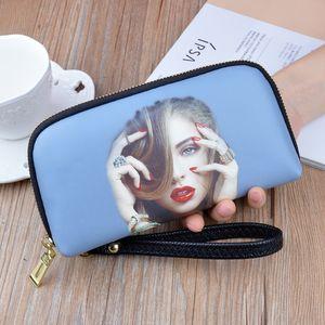 Yeni eli kadın cüzdan uzun fermuar yumuşak deri baskılı kabuk büyük kapasiteli Bowler Cep telefonu cep telefonu çantası cüzdan küçük çanta