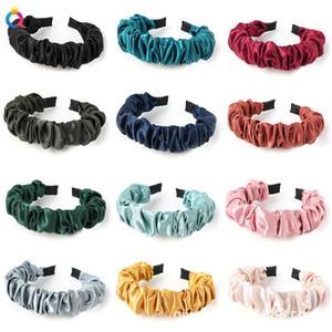 Nouveau Mode Automne Hairband Femmes Individualité plissés Bandeau frais Bande cheveux solide adulte Cent Matching Accessoires cheveux