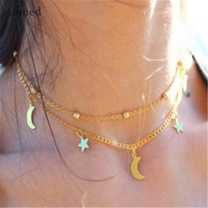 Collier Moon Party Simple Gothique Collier Femme Mode Femme Double Steampunk Pendentif Ahmed Star New Bijoux MkCbC CE2007