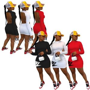Manica lunga del vestito da estate Designer Miniskirt di un pezzo del vestito del vestito da modo Magro alta qualità di lusso p36 Clubwear di vendita caldi