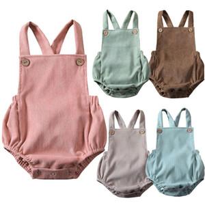 2020 do bebê roupas de verão Infante recém-nascido do bebé das meninas Bodysuit Macacão Corduroy Roupa Backless Outfits