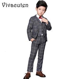 Boys Wedding Suits Plaid Blazer + Vest + Pants 3pcs Formal Suit Set Brand Kids Wedding Clothing Set for Children Formal Clothes