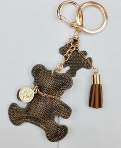 Bear Key Chain Accessories Tassel Key Ring PU Leather Bear Pattern Car Keychains Women Bag Charm Jewelry Christmas Gift cute keychain