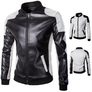 Cross Border Hot Selling New Style Men Stand Collar Leather Coat Trend Black And White Mixed Colors Ultra-Large Size Leather