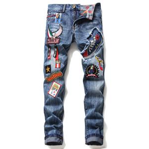 Diesel Jeans für Männer beunruhigt Motorrad Radsport Designer-Jeans Rock Herren-Skinny-Jeans mit geradem Bein und weise Tuch Patch embroi