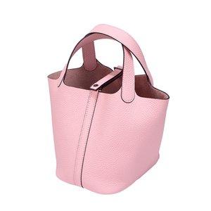 2021 Brand Fashion Luxury Designer Colorful Tide Picotin Handbag Woman Lock Bag Cowhide Layer Head Package Bucket Hand Carry Basket Wom Iacu