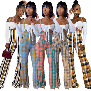 Fashion Two Piece Set Tracksuits Women Off Shoulder Long Sleeve Sexy Crop Top Flare Pants Plaid Printed Jumpsuit Two-piece Suit