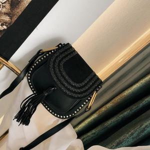 Clássico do vintage tecido Saddle Bag Womens designer bolsas Tassel camurça trançada Rivet Tassel Shoulder Bags corpo Cruz do Messenger saco quente DOSV #