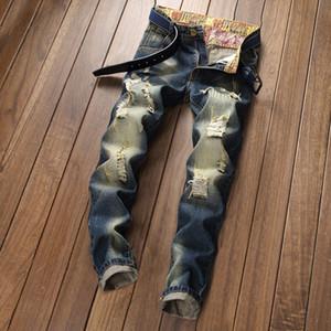 Neues und Jeans-Produkt für Männer rasiert gewaschen für junge Männer Slim Fit Jeans mit geradem Schnitt geknackt