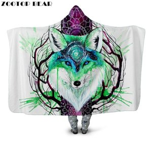 Lightweight Hooded Blanket White Wearable Animal Throw Blankets Woman Popular Fashion 3D print Wolf Soft Portable Adult Bedding
