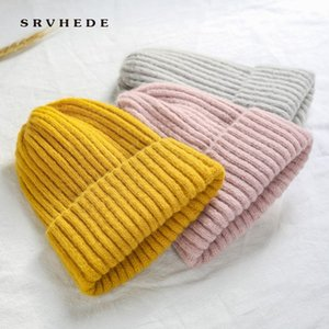 2020 New Winter Solid Color Wool Knit Beanie Women Fashion Casual Hat Warm Female Soft Thicken Hedging Cap Slouchy Bonnet Ski