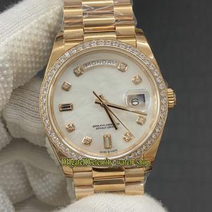EW DayDate 36мм 128235 128345 Cal.3255 Автоматическая 128349 Мужские часы белый циферблат 18K Rose-золото Diamond инкрустация чехол Jubilie ремень Iced Out Watche