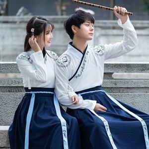 Hanfu Paar Wear Männer und altes Kostüm der Frauen cp Anzug Kampfkunst-Stil Student Klasse Abnutzung gestickt verbesserte langärmelige alten