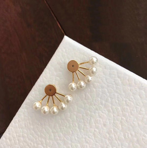 With BOX Fashion brand Have stamps pearl designer earrings for lady women Party wedding lovers gift engagement luxury jewelry for Bride HB12