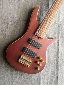 Rare 6 string Brown red Bass and Active Pickups 24 Frets,Gold Hardware China Electric Guitar Bass