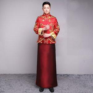 Erkekler Cheongsam Üst 2020 Erkek Damat Düğün Qipao Evli Han Fu Kırmızı Nakış Çin Tarzı Tost Giyim Robe Ceket Tang Suit