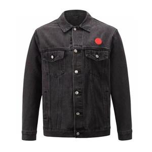 Moda Şık Kot Ceket Erkek İşlemeli Mektupları Ceket Bay Bayan Yüksek Kaliteli Ceket Erkek Hip Hop Giyim Siyah Boyut S-XL