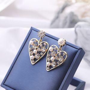 1c966 S925 metallo argento coreano amore diamante Flash Internet Celebrity moda esagerato Western Stone di perle orecchini di perle orecchini in stile fe