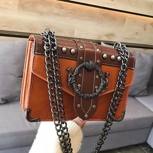 hot new European Fashion Female Square Bag 2020 New Quality PU Leather Women's Designer Handbag Rivet Lock Chain Shoulder Messenger bags
