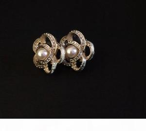 Brincos clássicos camélia de cristal brincos de pérola para senhora mulheres parafuso prisioneiro de jóias brincos desinger para a noiva com saco de flanela