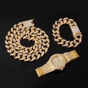 Ohrringe Halskette Hip Hop + Armband + Watch 1 Set Miami Kubanische Kette Euro ausgespüftet Rhinestones CZ Bling Rapper Halsketten für Männer Schmuck
