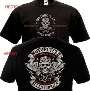 Manga curta T-shirts T-shirt Roupa engraçado da motocicleta velocidade Junkies Biker Chopper Motard T-shirt Mc