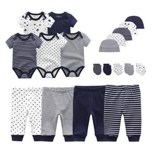2020 Твердый мужской новорожденный Мальчик одежда Bodysuits + брюки + шапки + перчатки Baby Girl одежда хлопковая одежда Комплекты Roupa де Bebe Y200803