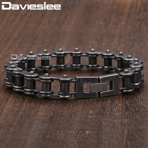 Davieslee Male Bracelet for Men Bycycle Biker Link Gunmetal 316L Stainless Steel Men's Bracelet Gift Party Jewelry DLHB423 Y200810