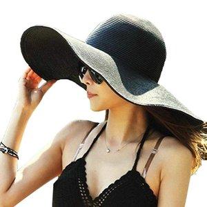 Havaiano Verão Floppy Chapéu de palha de Sanwood Mulheres cor sólida Aba larga Straw Sun Cap