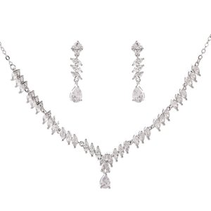 New Fashion Romantic High-end Exquisite Simple Dripping Zircon Necklace Set (Handmade)   Wedding and Special Occasion Use