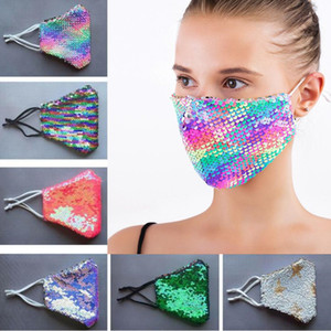 Designer Face Mask Fashion Bling Bling Sequin Protective Dustproof Washable Mask Windproof Reusable Elastic Earloop Mouth Mask