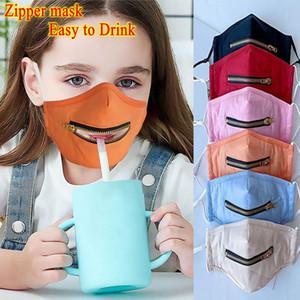 DHL navire Masque Creative Zipper Visage Zipper Conception facile à boire lavable réutilisable 2 en 1 Eye Shield Couvre-masques de protection pour les enfants / adultes