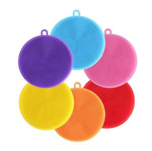 De silicona para lavar platos Cepillo Cepillo redondo depurador para lavar la vajilla de múltiples funciones de la legumbre de fruta estropajos de cocina Cepillo de limpieza DWE769