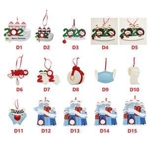 Resina de cuarentena adornos de navidad 2020 DIY Nombre Bendiciones familia del muñeco de ornamentos de navidad decoración del transporte marítimo de IIA667